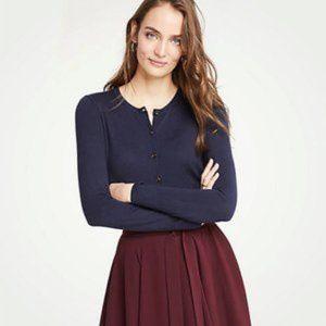Ann Taylor Navy Blue Button Front Basic Cardigan L